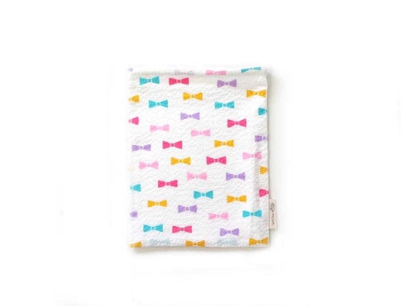 ハリネズミ用寝袋 S(夏用) 綿リップル×スムースニット リボン ホワイト
