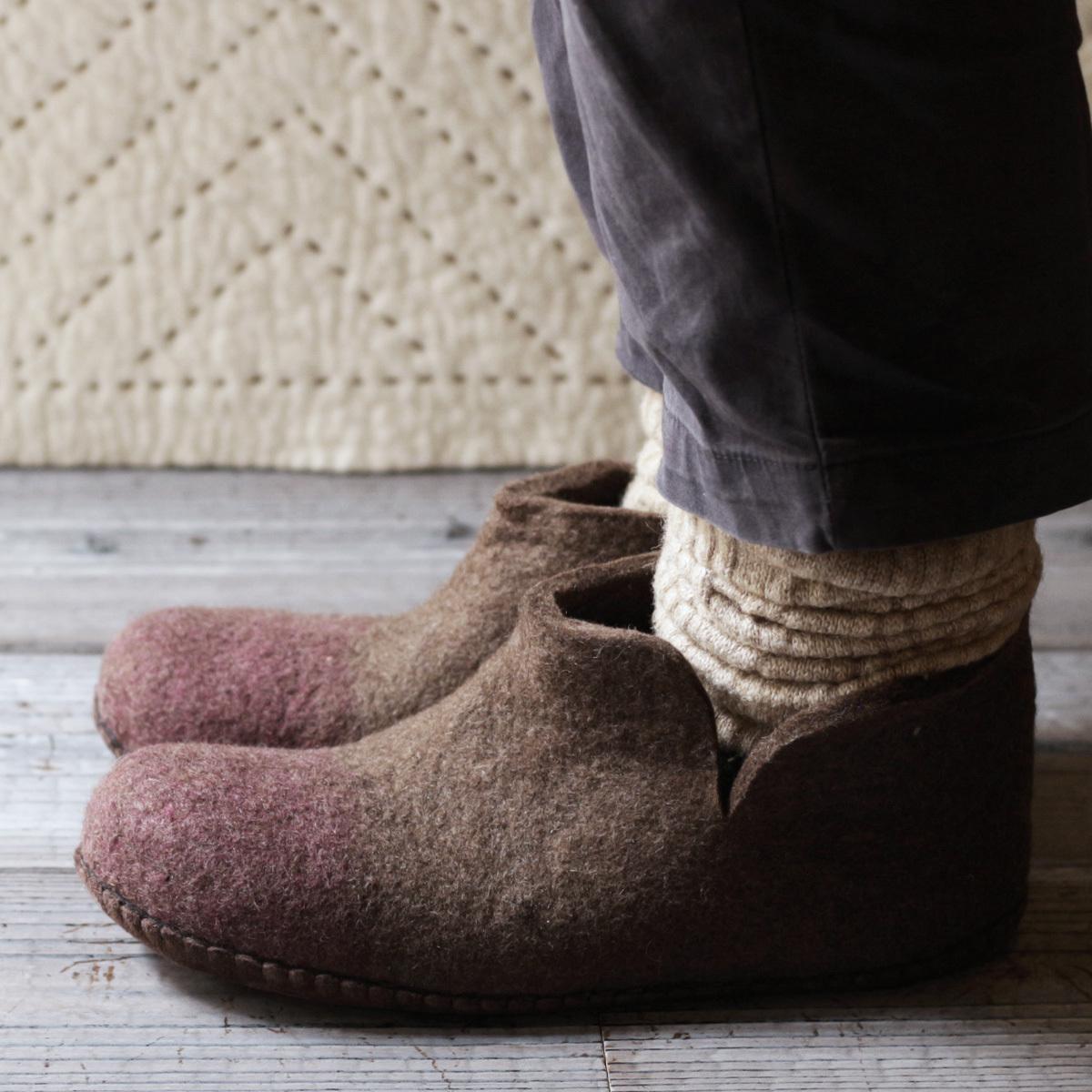 モンゴル羊毛のルームブーツ MUNAGE x PINK  / 2020 Winter