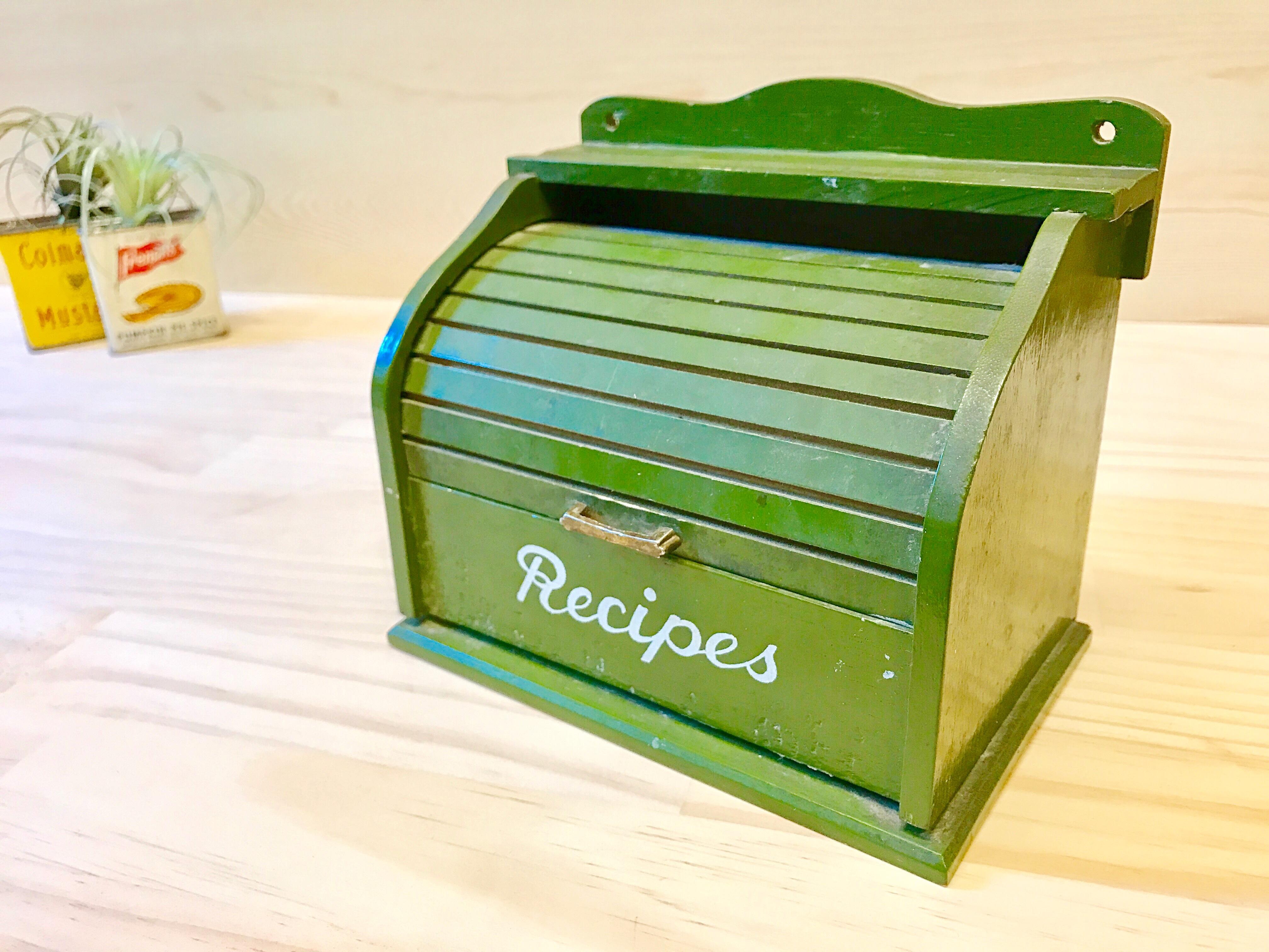 オリーブ色 レシピBOX キッチンコンテナ グリーンポット