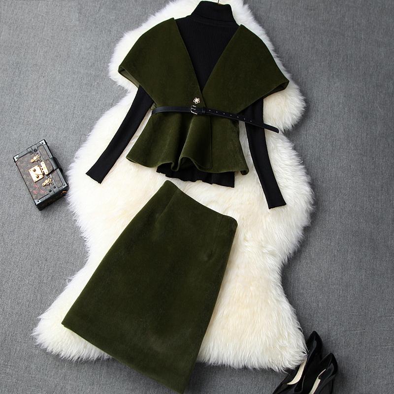 3点セットアップ スカートスーツ+タートルニット