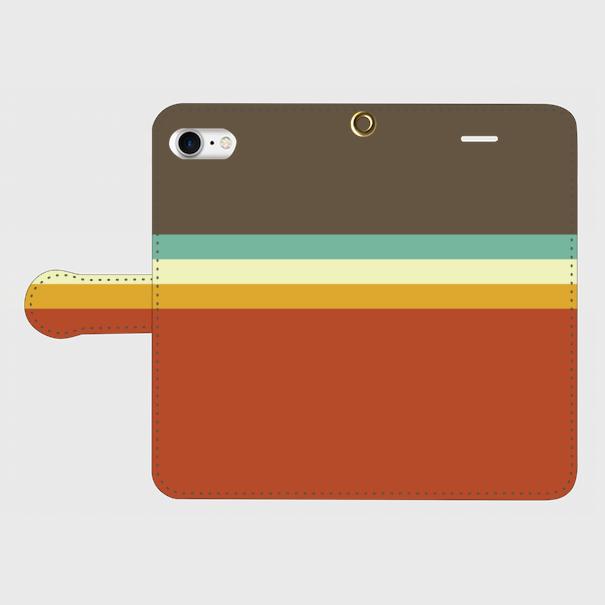 レトロストライプ(暗灰・水・薄緑・橙) / iPhoneスマホケース(手帳型ケース)