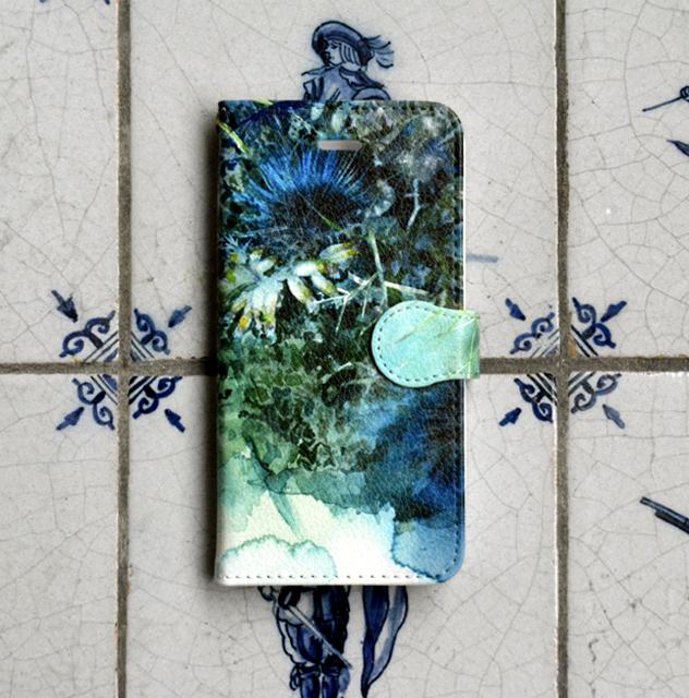 ターコイズボタニカル 手帳型スマホケース   iphone7他小さいサイズ