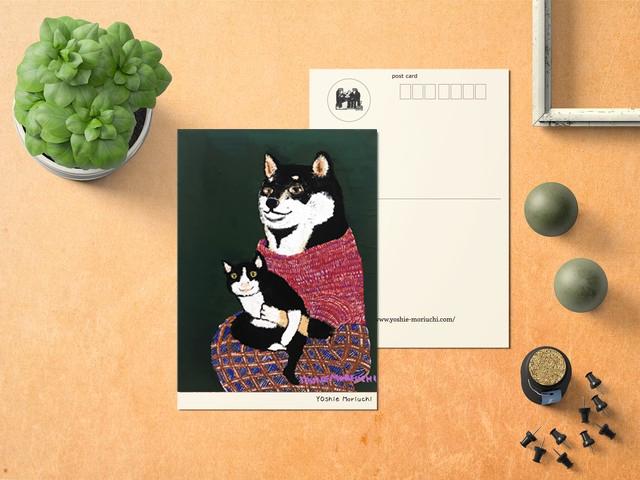 【ポストカード】黒柴さんと黒猫さん