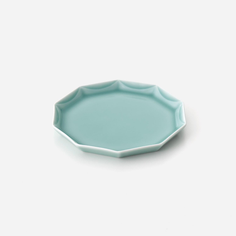 青磁 十角彫プレート皿(小)