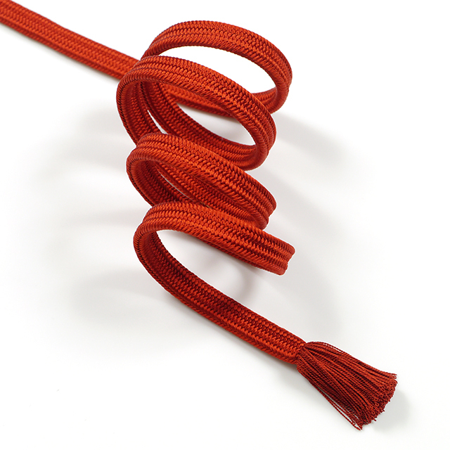 龍工房帯締め-冠組-真紅