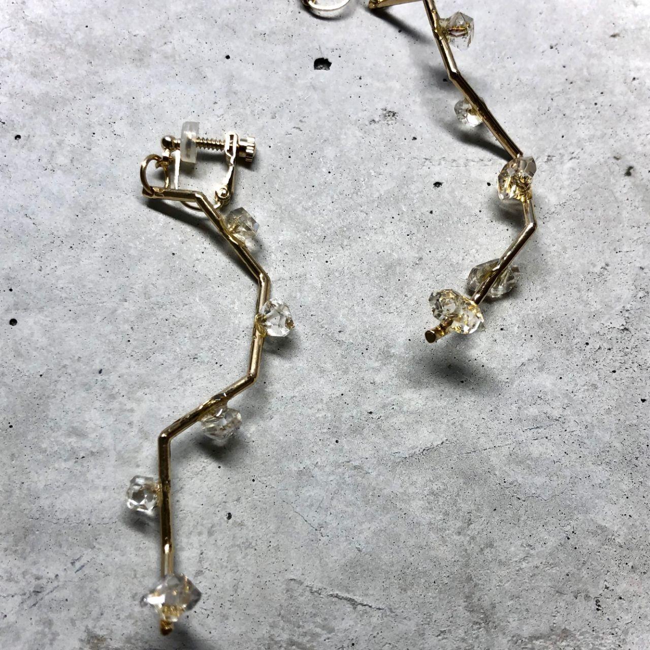 【LE-7BR】Herkimer diamond earring