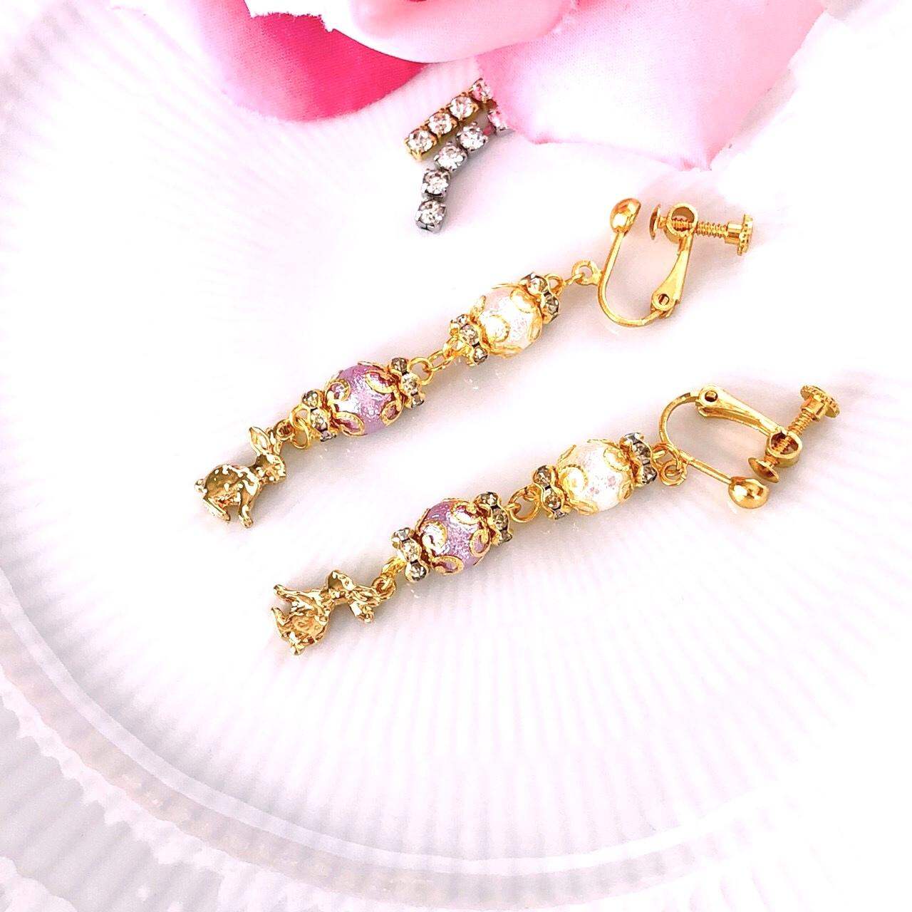 【サニーショコラ】コットンパールと小さなウサギイヤリングp1201009