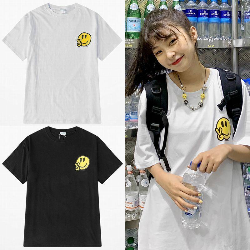 ユニセックス Tシャツ 半袖 メンズ レディース シンプル 英字 ピース スマイル ニコちゃんマーク スマイリーフェイス オーバーサイズ 大きいサイズ ルーズ ストリート