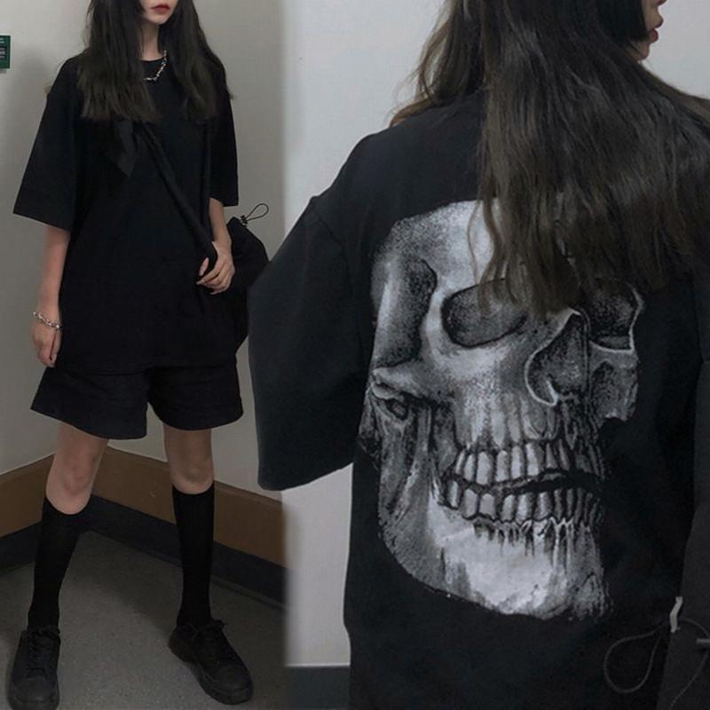 ユニセックス Tシャツ 半袖 メンズ レディース ラウンドネック シンプル どくろ スカル プリント オーバーサイズ 大きいサイズ ルーズ ストリート