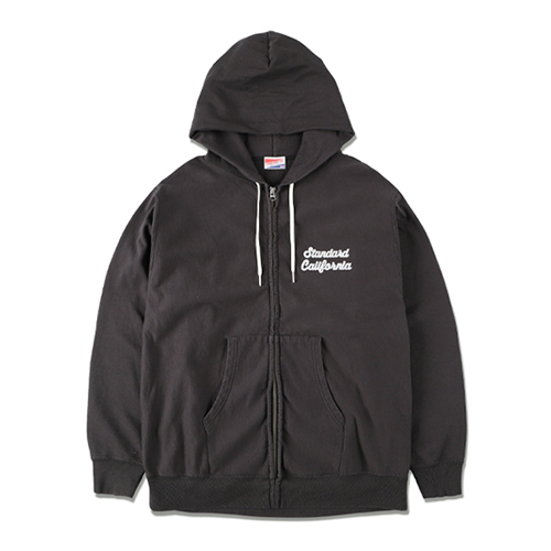 STANDARD CALIFORNIA #SD US Cotton Zip Hood Script Logo Sweat Shirt Black