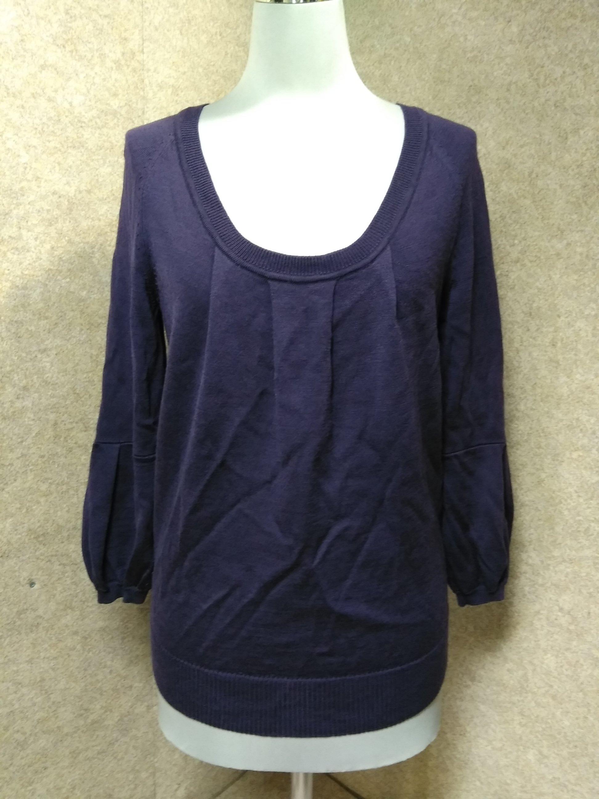 アンタイトル 薄手ウール ニット カットソー 2 紫 7分袖 mu388s