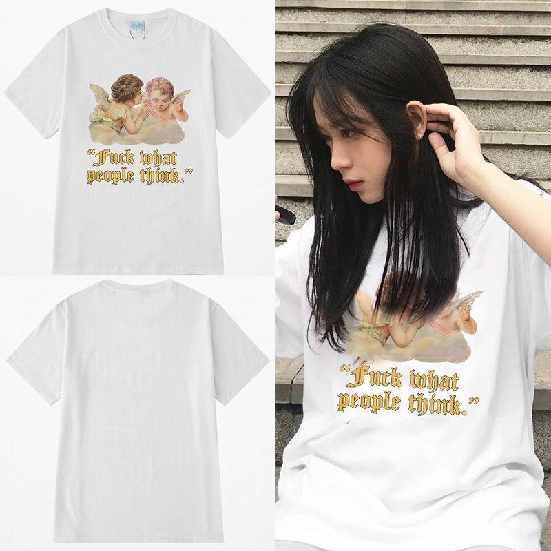 ユニセックス 半袖 Tシャツ メンズ レディース 英字 天使 2人のエンジェル プリント オーバーサイズ 大きいサイズ ルーズ ストリート