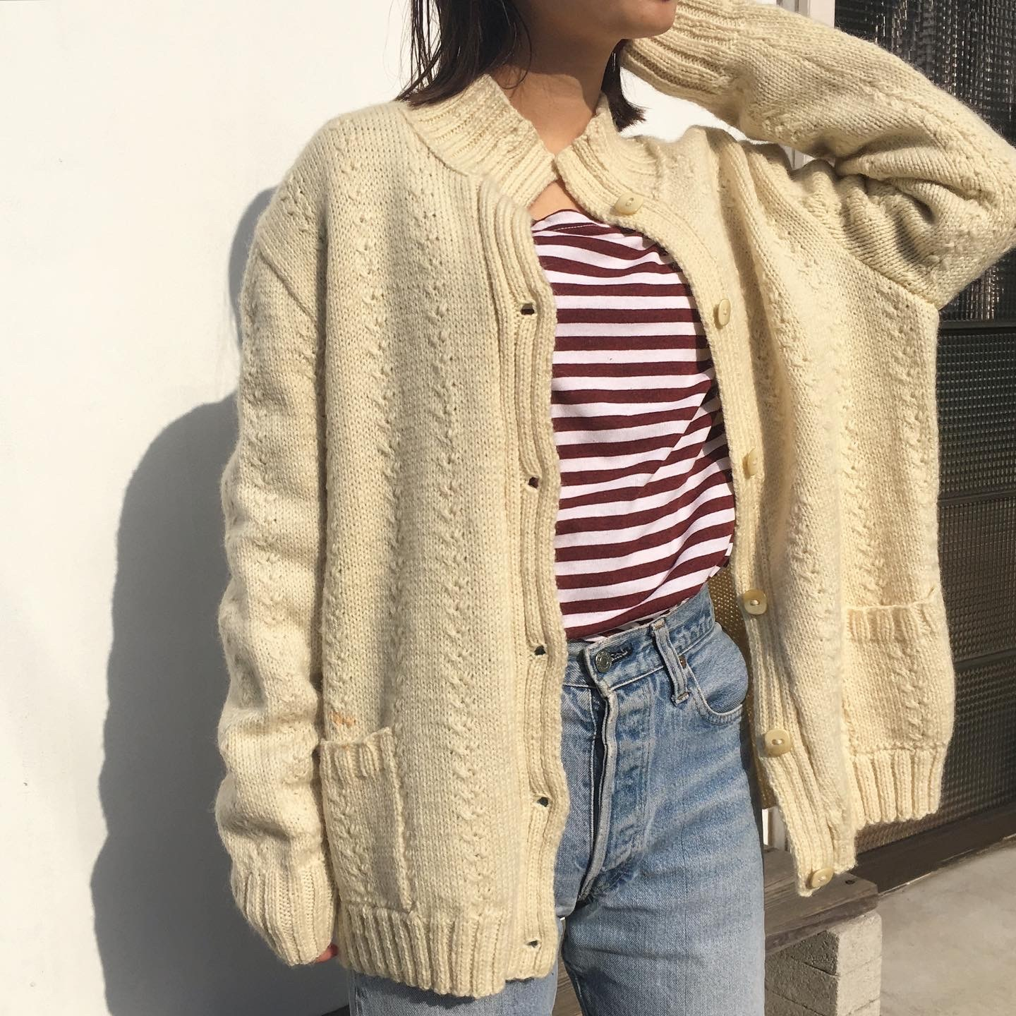 """USED """" turtle neck cable knit cardigan """""""