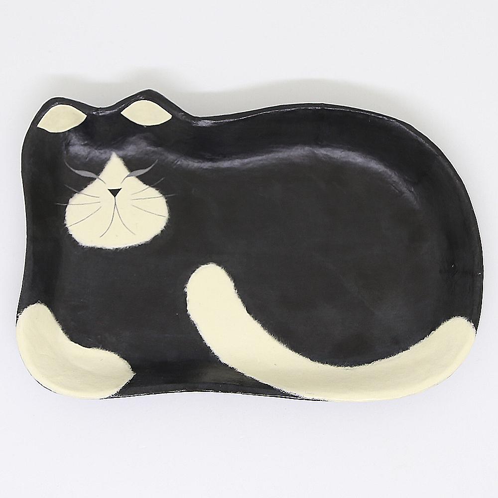 猫トレイ(和紙クラフトひだまりのらペーパーキャット大)黒白ねこ