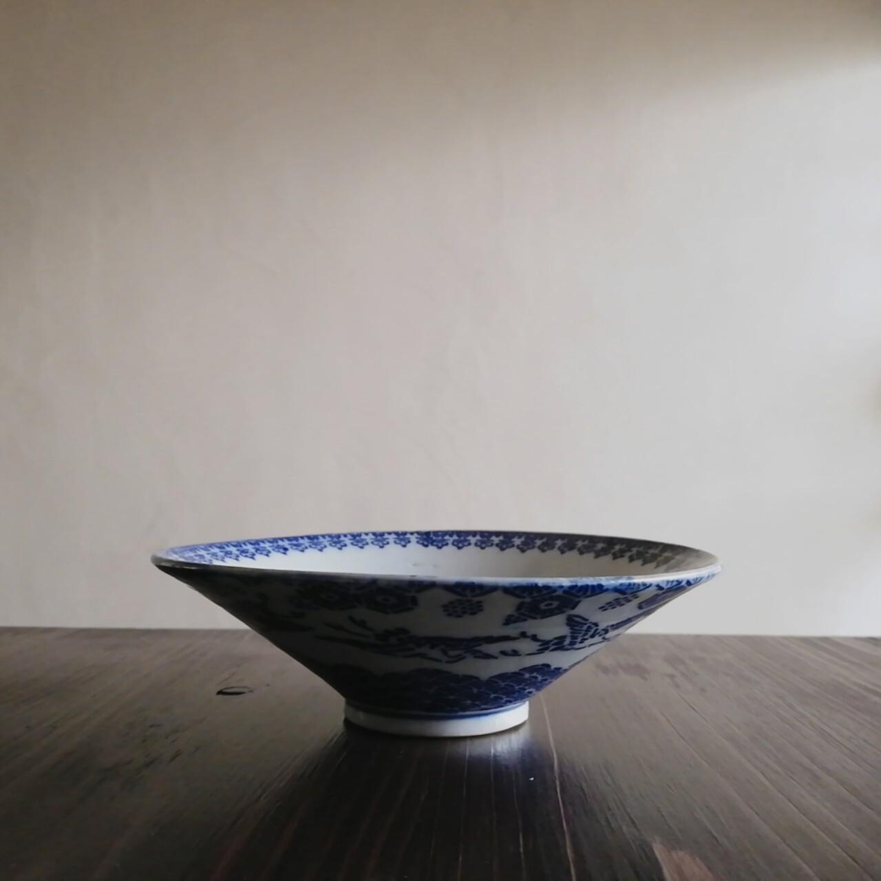 紙摺印判 吉祥紋 目跡のある平鉢【明治】