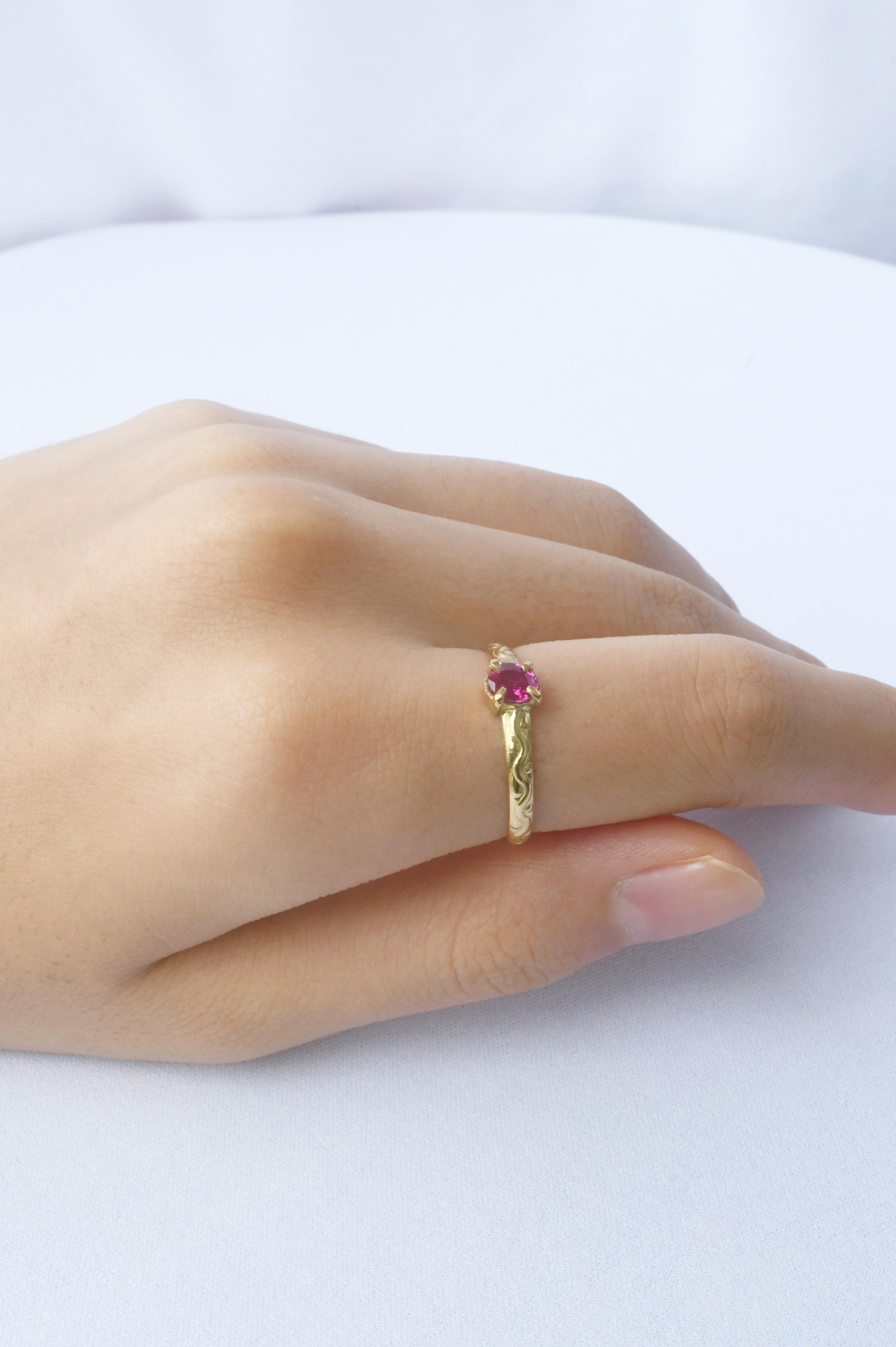 K18 Ruby Design Ring 18金ルビーデザインリング(縦)
