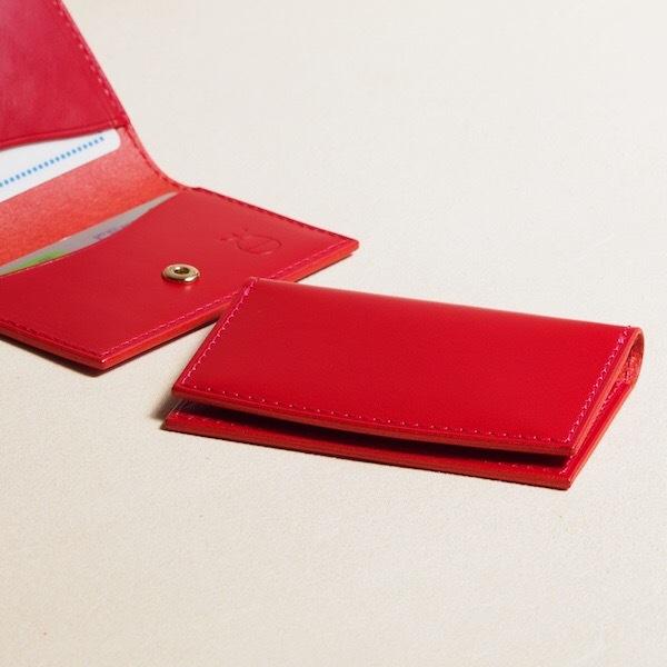 薄く小さい革のパスケース#レッド