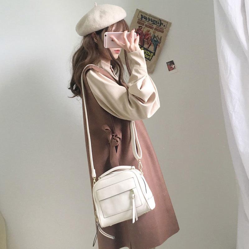 【送料無料】ガーリーコーデ♡ ボリューム袖ブラウス& リボン ワンピース 2点セット