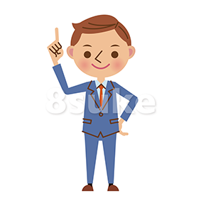 イラスト素材:指差しをする若いビジネスマン(ベクター・JPG)
