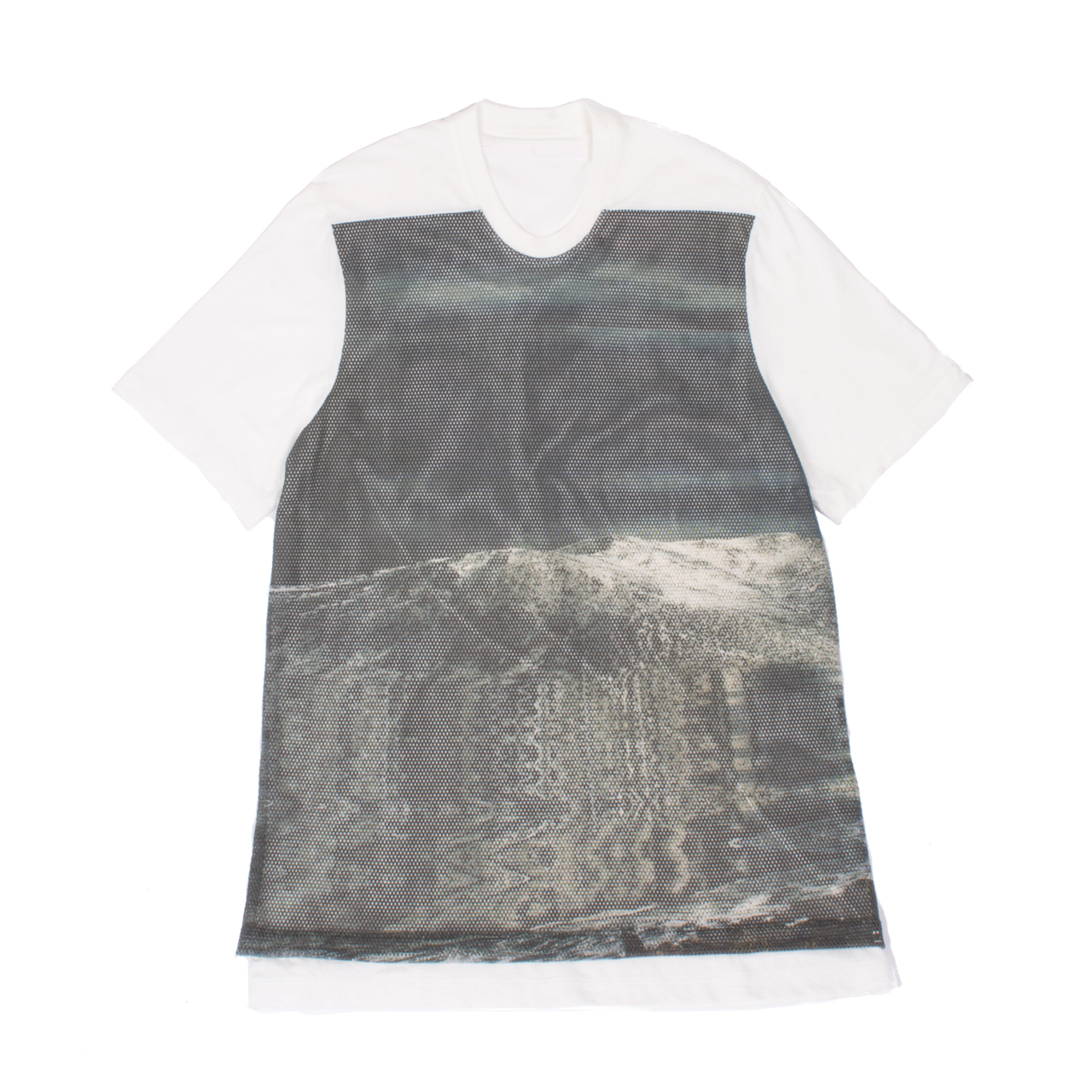 707CUM8-P-WHITE / アバランチメッシュプリントTシャツ