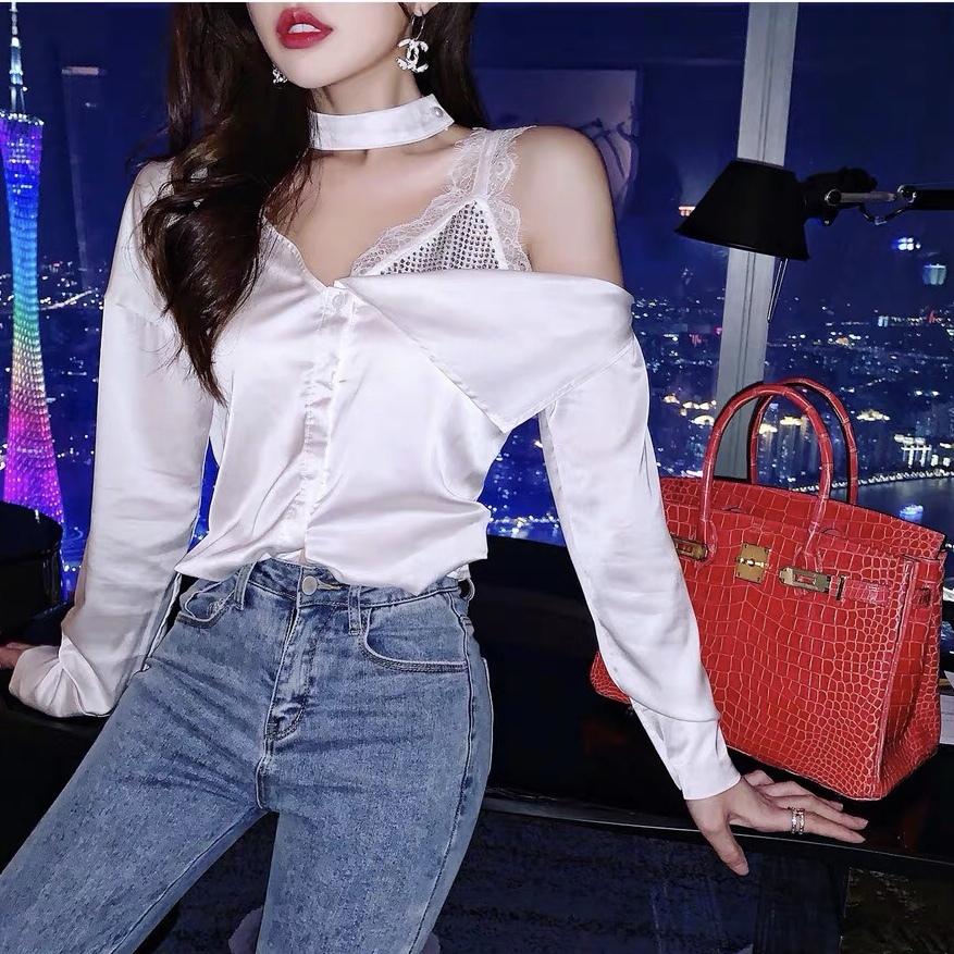 one shoulder lace shirt
