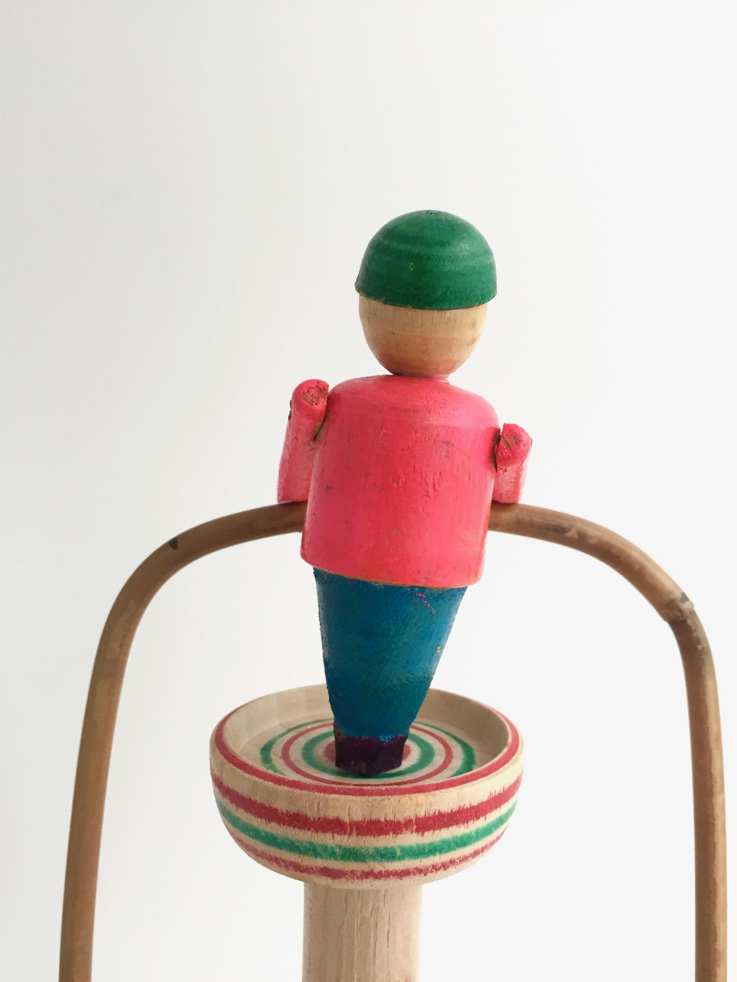 はりまや木地玩具「ヤジロベー」(ピンク色タイプ)