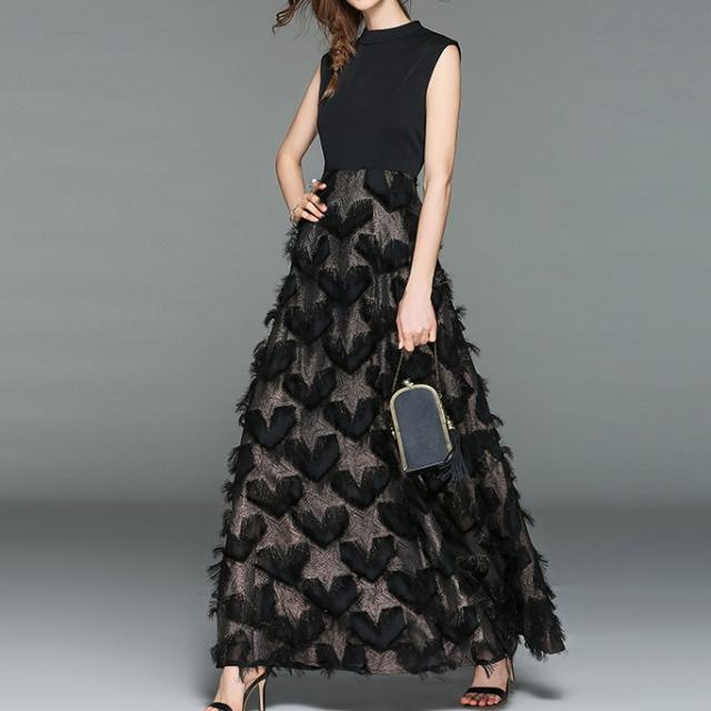 ハートモチーフ ロングワンピース ドレス 黒 ブラック
