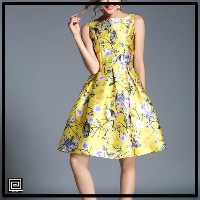 ヴィンテージレトロフラワープリントドレス