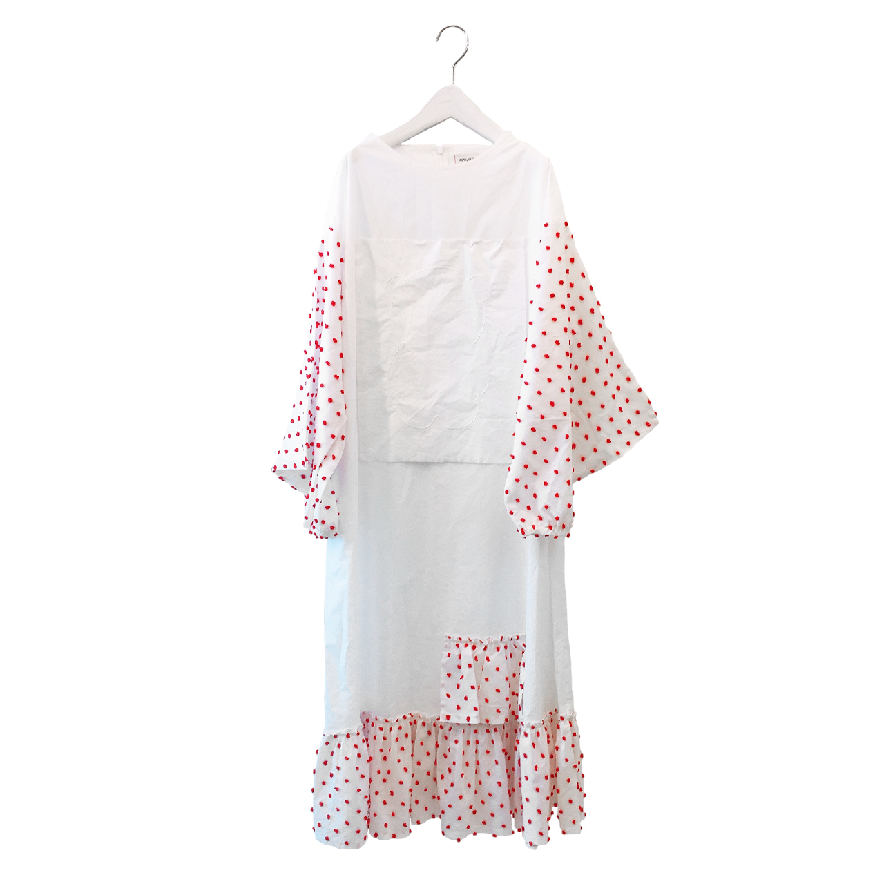 BEAR EMBROIDERY BONBON CUT JQ DRESS / L