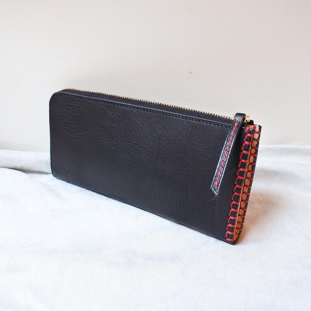 革と糸が選べるオーダーメイドL字ファスナースリム長財布(革:VACCHETTA800/バケッタ800・ブラック