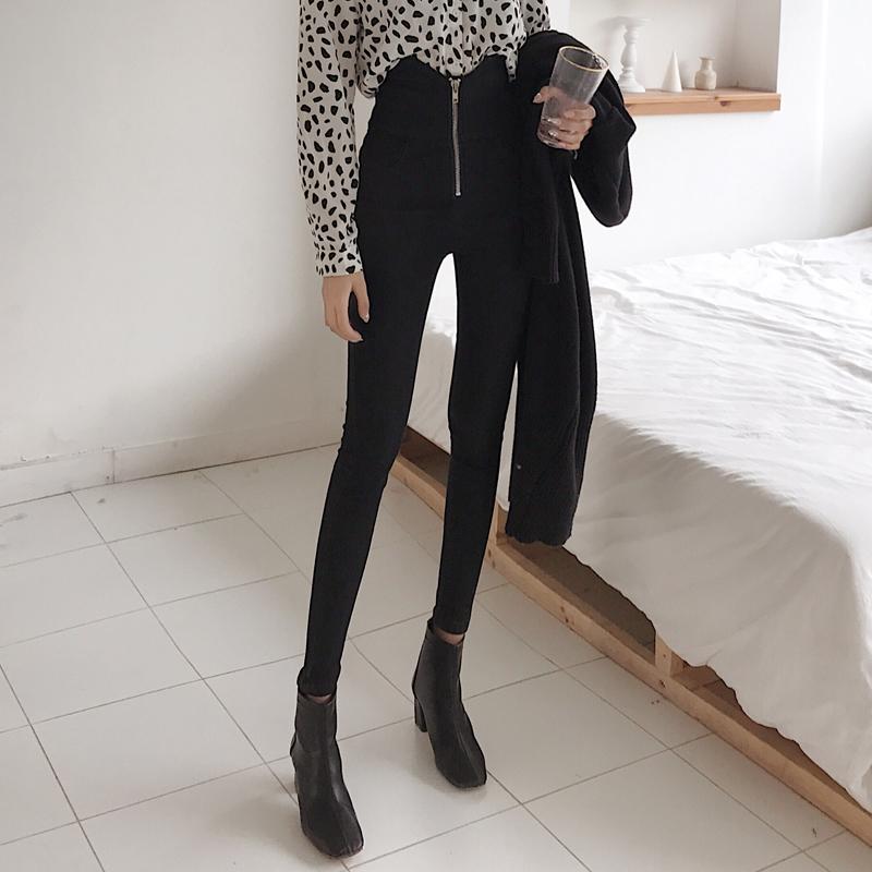 【bottoms】 弾性ありファッションハイウエストデニムパンツ25151134