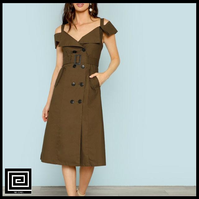 コールドショルダーベルトトレンチドレス