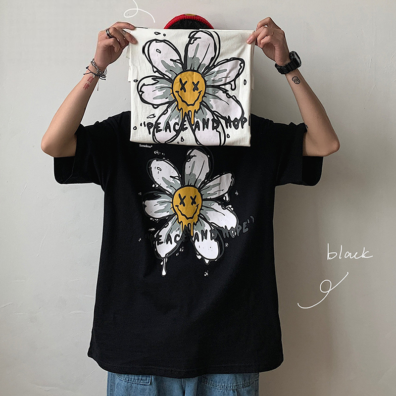 ユニセックス 半袖 Tシャツ メンズ レディース 落書き風 英字 フラワープリント オーバーサイズ 大きいサイズ ルーズ ストリート