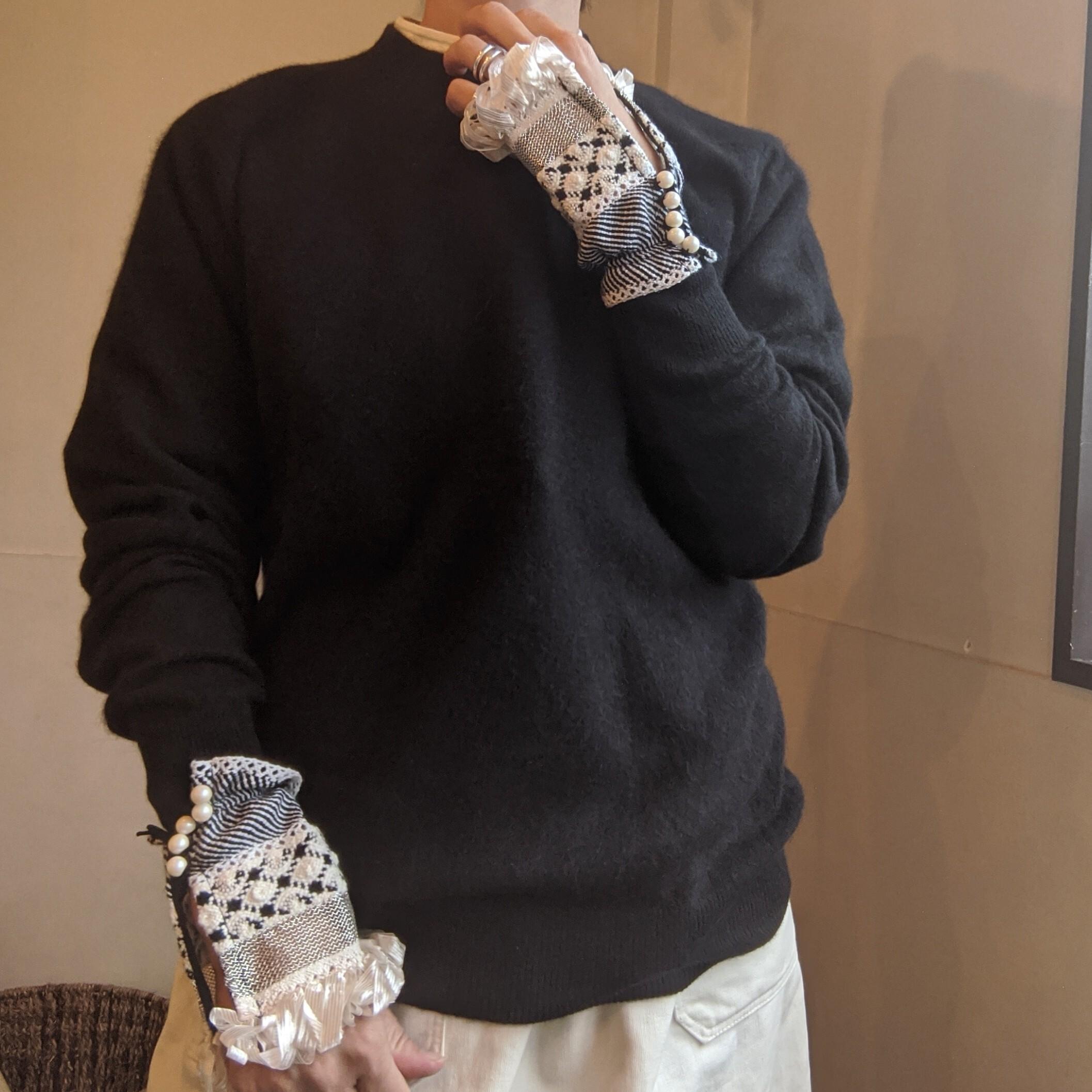 last1◇【 HOUGA 】ホウガ pawn cuffs / カフス / モノトーン リボン / 袖口フリンジ