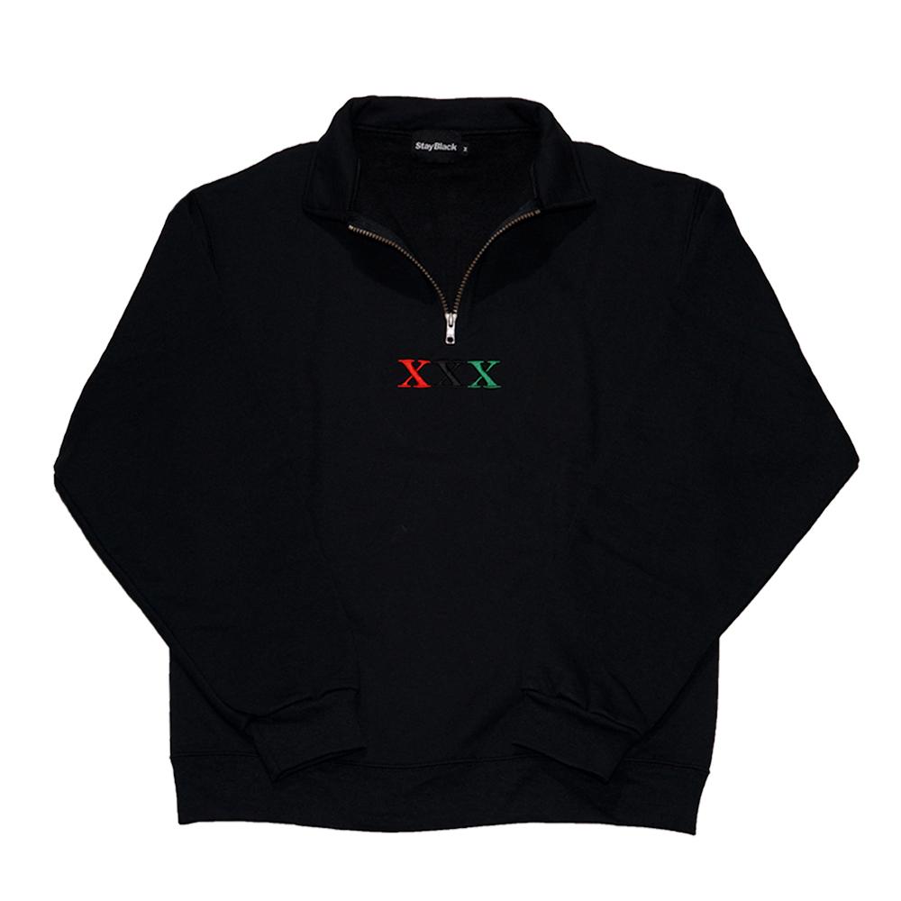 Stay Black Salute XXX Half Zip Sweat (BLACK)