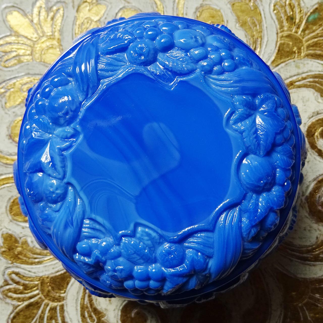 チェコスロバキア ボヘミアガラスのジュエリーポット  / ブルー