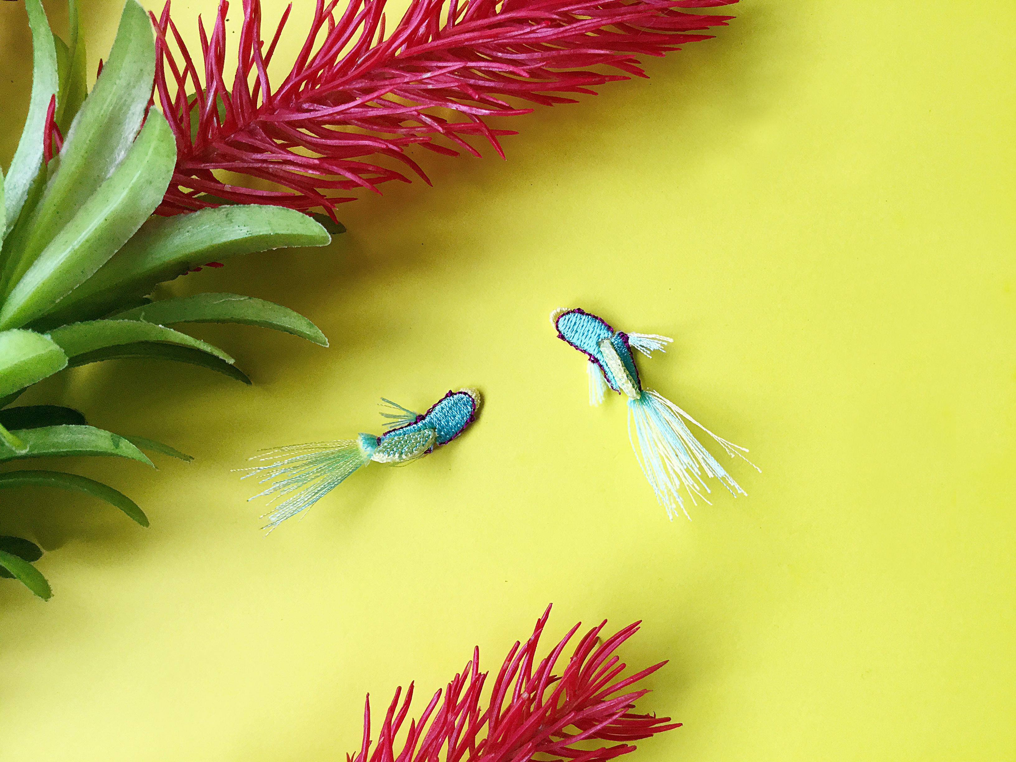 ARRO / 刺繍 / ピアス / イヤリング / TROPICAL FISH / MINT GREEN