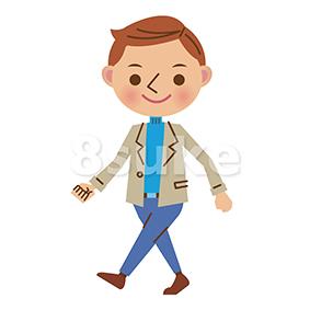 イラスト素材:私服姿の歩く男性(ベクター・JPG)