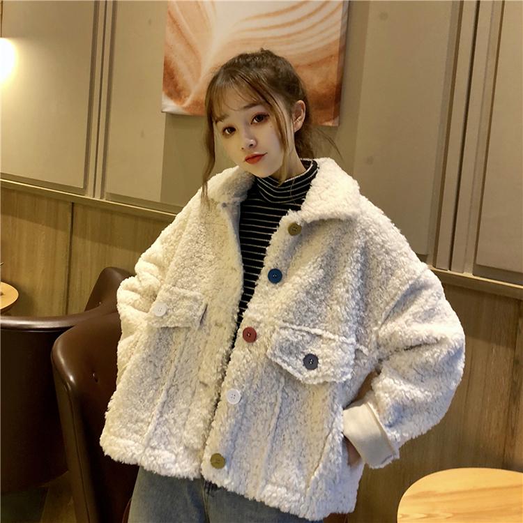 【送料無料】もこもこジャケット♡オーバーサイズ ショート丈 ガーリー アウター ポケット付き