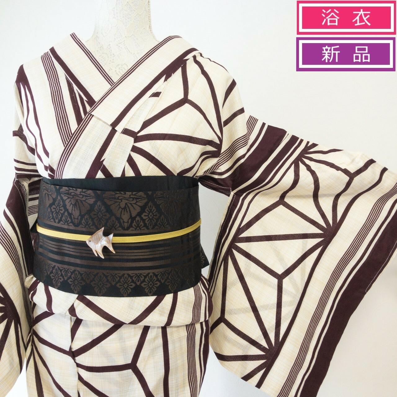 【新品】プレタ浴衣 綿麻変わり織 格子地に縞と麻の葉 生成×海老茶