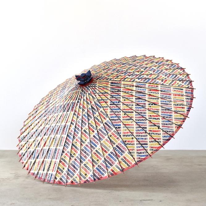 傘日和 蛇の目傘 短冊×カラフル