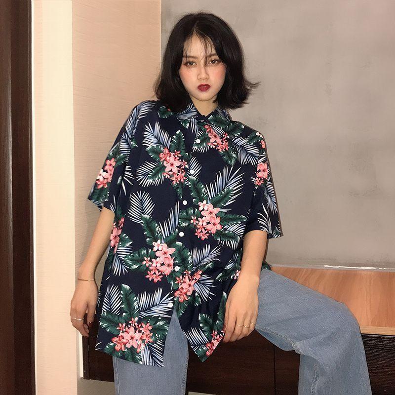 ユニセックス シャツ 半袖 メンズ レディース Vネック フラワープリント オーバーサイズ 大きいサイズ ルーズ ストリート