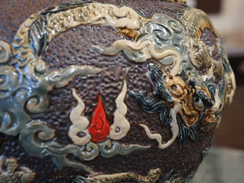 迫力のシーサー巻き壷 金城陶器秀陶房 やちむん