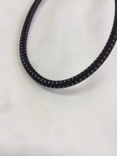 ゴム 丸 バンジーコード 5㎜径 反射入り 黒 1m