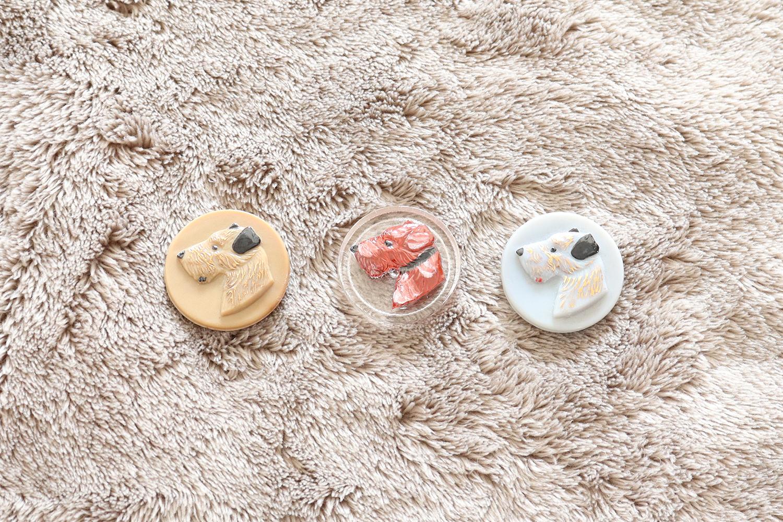 【チェコ】犬のガラスボタン/クリア