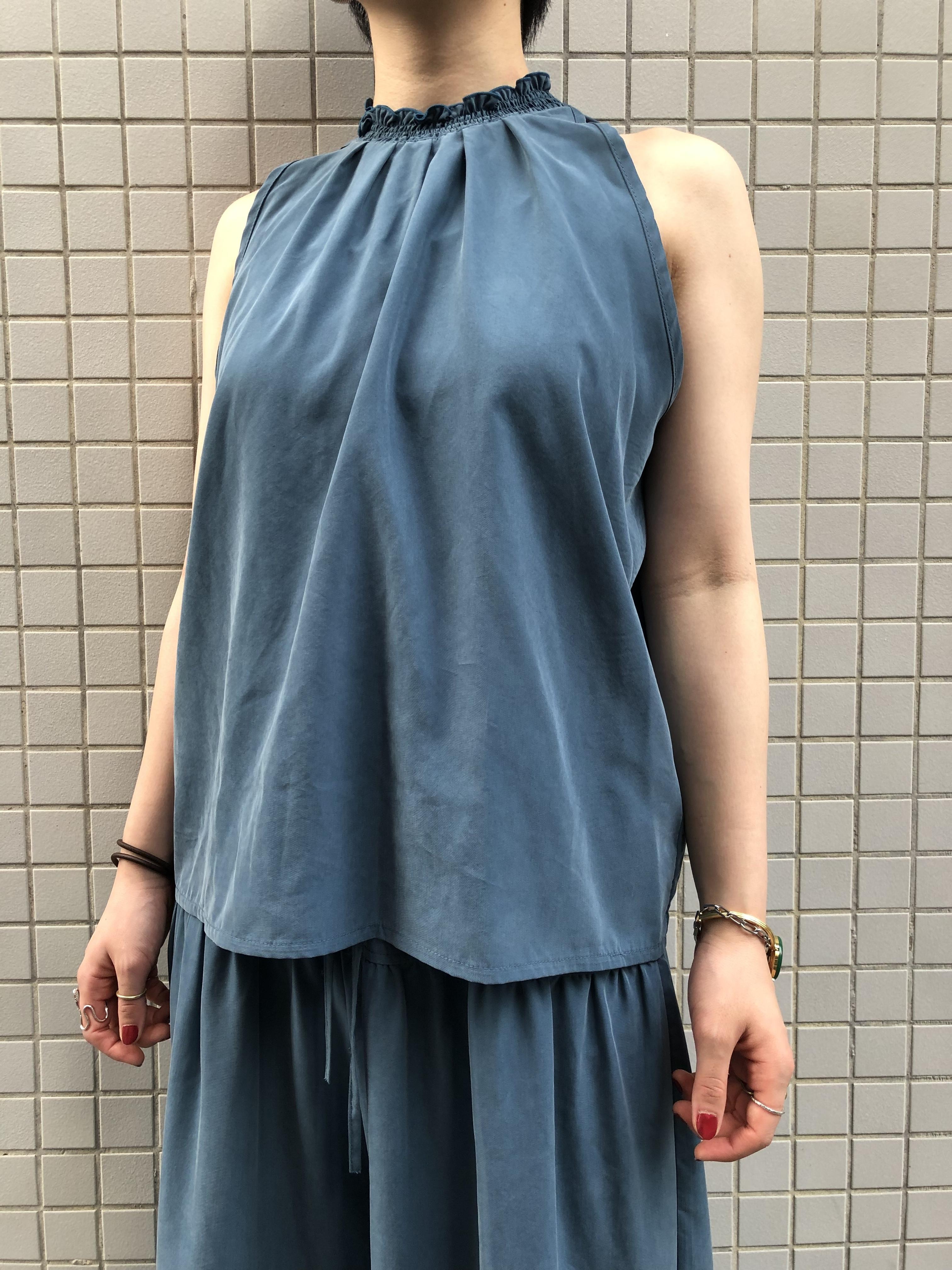 """CaNARi"" original blouse(Black.Smoky Blue)"