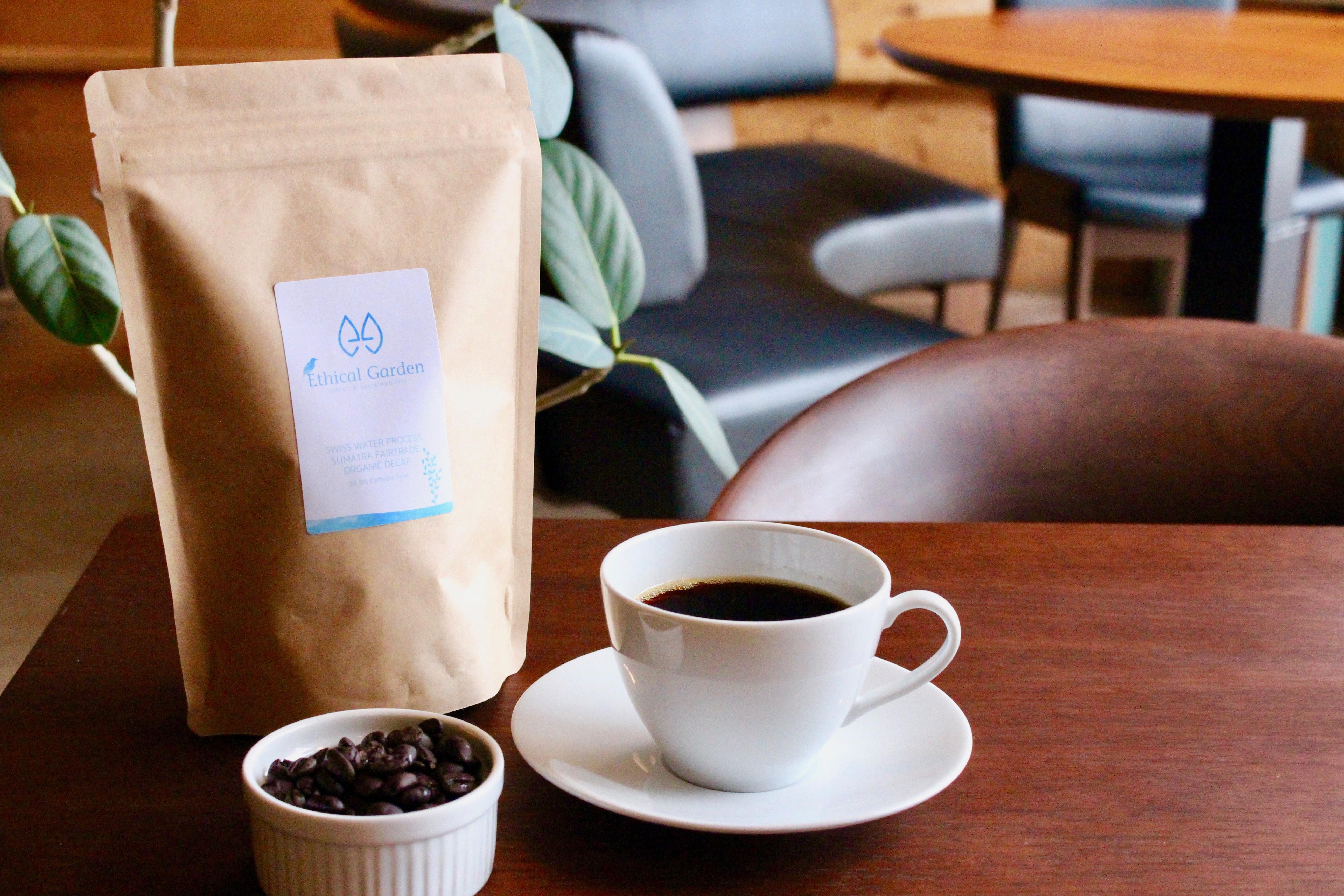 Ethical Garden 自家焙煎 DECAF オーガニックコーヒー豆 150g(デカフェ カフェイン99.9%除去 フェアトレード カフェインレス エシカル お中元 お歳暮 挨拶 お土産 ギフト お礼 贈り物 プレゼント お祝い 内祝)