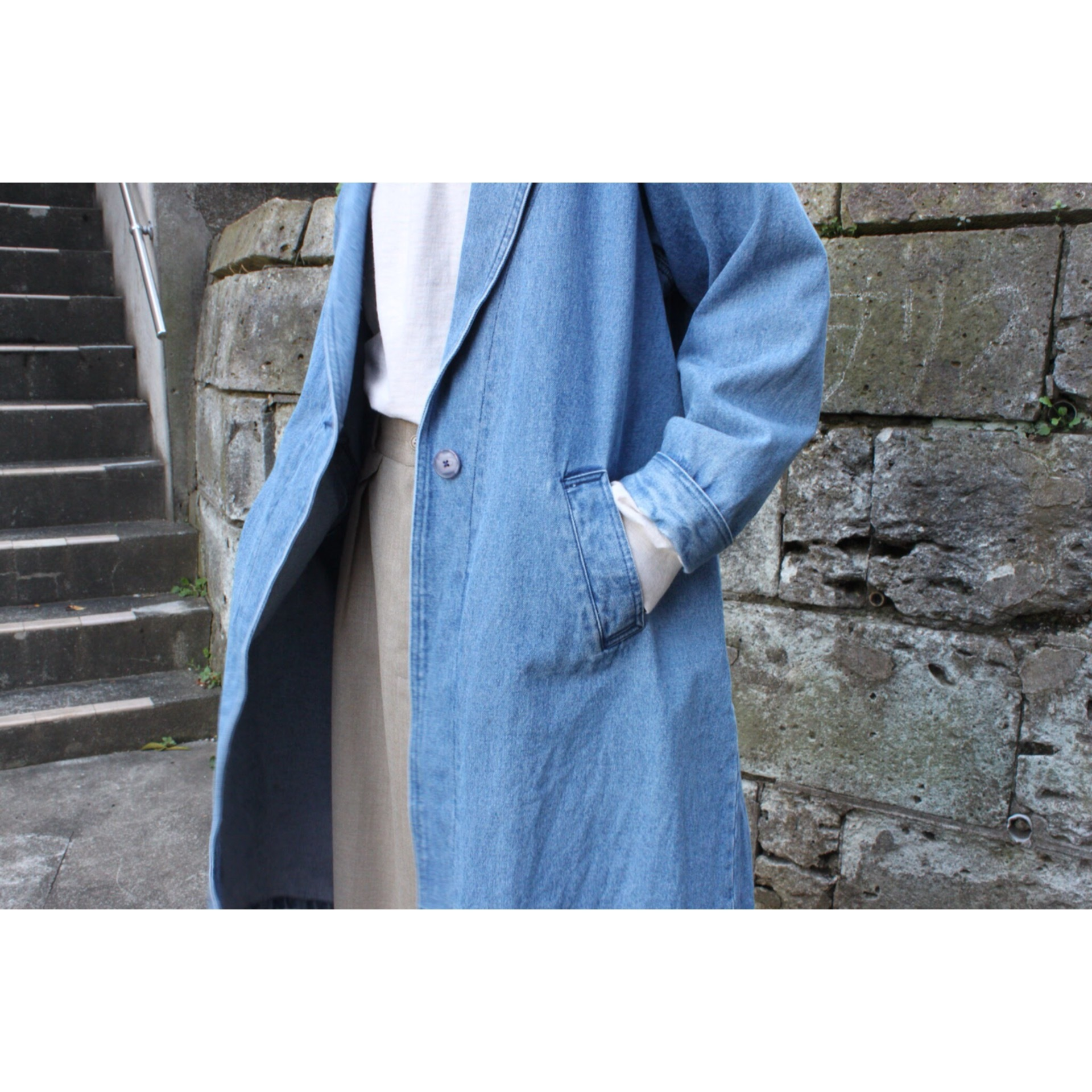 Vintage denim chester coat