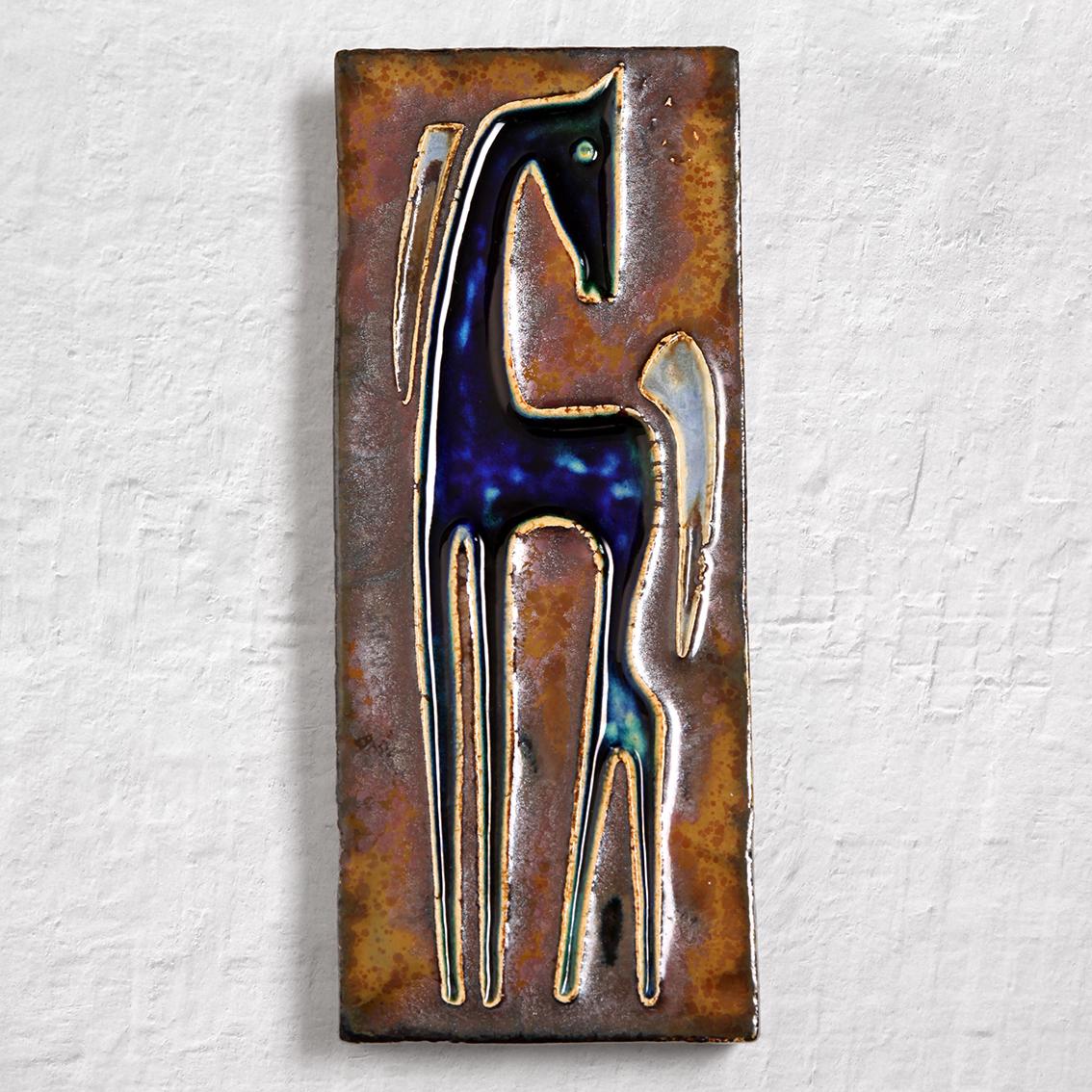 Helmut Schaffenacker ヘルムート シェーフェナッカー 青い馬の陶板 ヴィンテージ