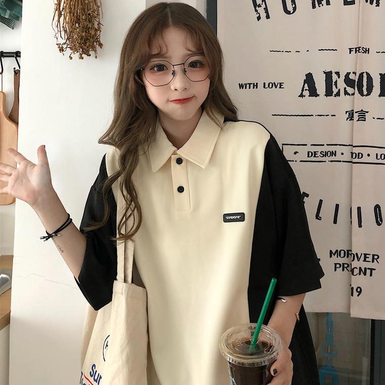 【送料無料】 ゆるっと旬シルエット♡ ゆるカジ メンズライク バイカラー 襟付き ポロ オーバーサイズ シャツ
